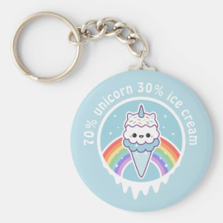 Unicorn Ice Cream Cone Basic Round Button Key Ring