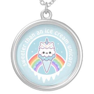 Unicorn Ice Cream Cone Silver Plated Necklace