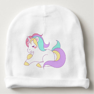 Unicorn illustration baby beanie