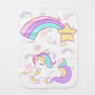 Unicorn illustration baby burp cloth