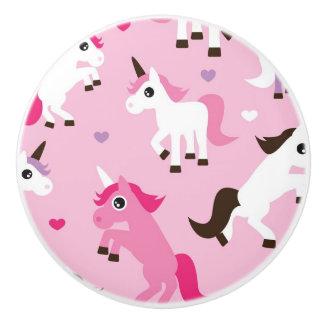 unicorn illustration kids background ceramic knob