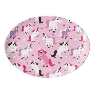 unicorn illustration kids background porcelain serving platter