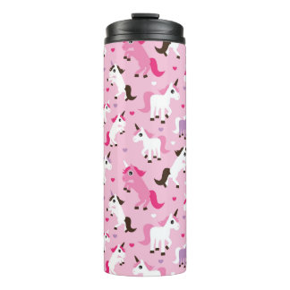unicorn illustration kids background thermal tumbler