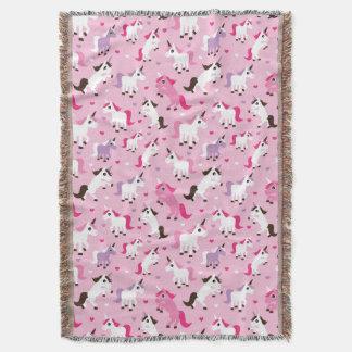 unicorn illustration kids background throw blanket