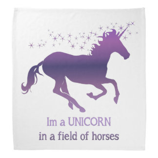Unicorn in a Field of Horses Fun Quote Fun purple Bandana