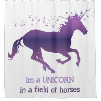 Unicorn in a Field of Horses Fun Quote Fun purple Shower Curtain