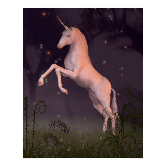 Unicorn in a Moonlit Forest Glade Poster