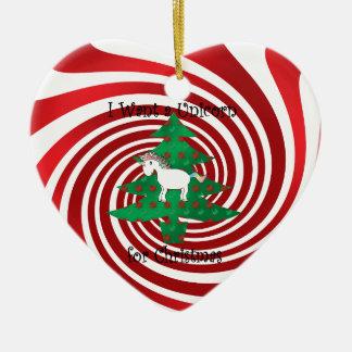Unicorn in Christmas tree on red swirls Christmas Ornament