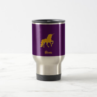 Unicorn in faux gold on purple with name travel mug