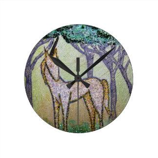 Unicorn in Grove of Trees Round Clock