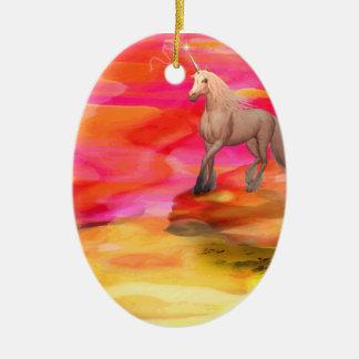 Unicorn in Painted Desert Ceramic Oval Decoration