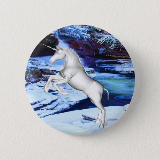 Unicorn in the Snow 6 Cm Round Badge