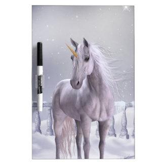 Unicorn in the Snow Dry Erase Board