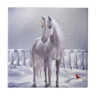 Unicorn in the Snow Tile