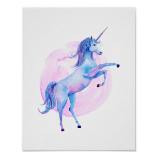 Unicorn in Watercolors Poster