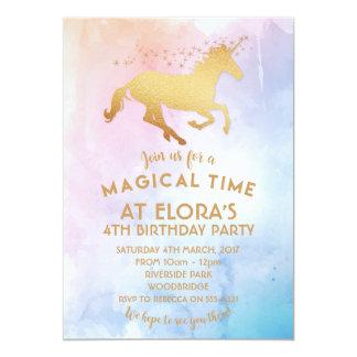 Unicorn Invitation, Birthday Gold Magical Card