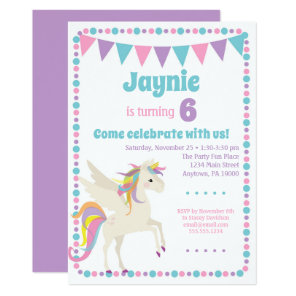 Unicorn Invitation Girls Unicorn Birthday Party