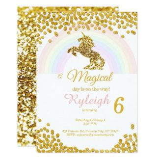 Unicorn invitations in gold
