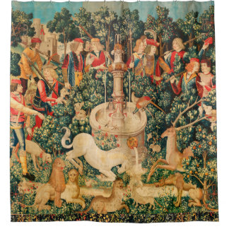UNICORN IS FOUND / Fountain and Other Animals Shower Curtain