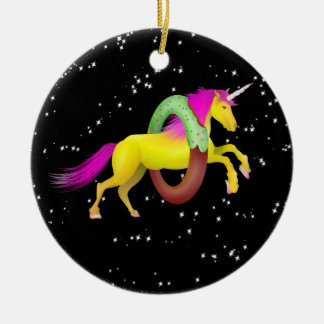 Unicorn Jumping Through a Doughnut Christmas Ornament