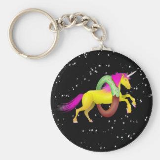 Unicorn Jumping Through a Doughnut Key Ring