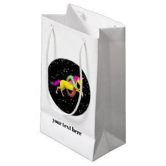 Unicorn Jumping Through a Doughnut Small Gift Bag
