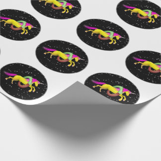 Unicorn Jumping Through a Doughnut Wrapping Paper
