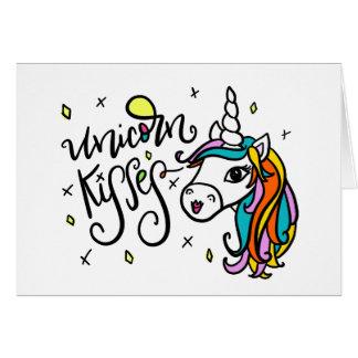 Unicorn Kisses, hand-drawn Card