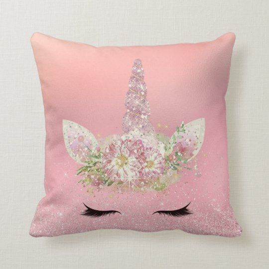 Unicorn Lashes Pink Rose Gold Glitter Flowers Cushion