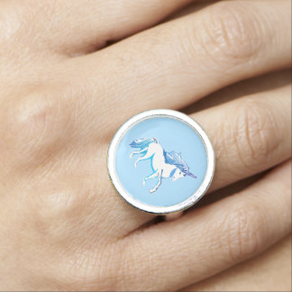 Unicorn Light Blue and White Ring