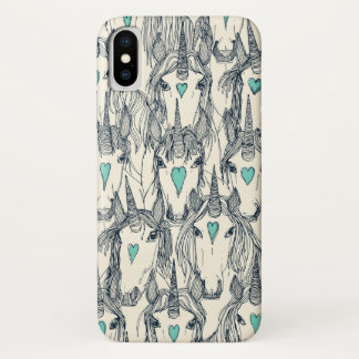unicorn love indigo mint pearl iPhone x case