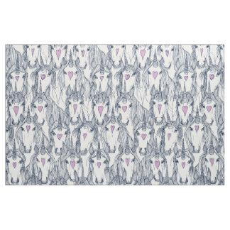 unicorn love navy orchid white fabric