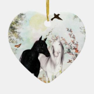 Unicorn love Orniment Ceramic Heart Decoration