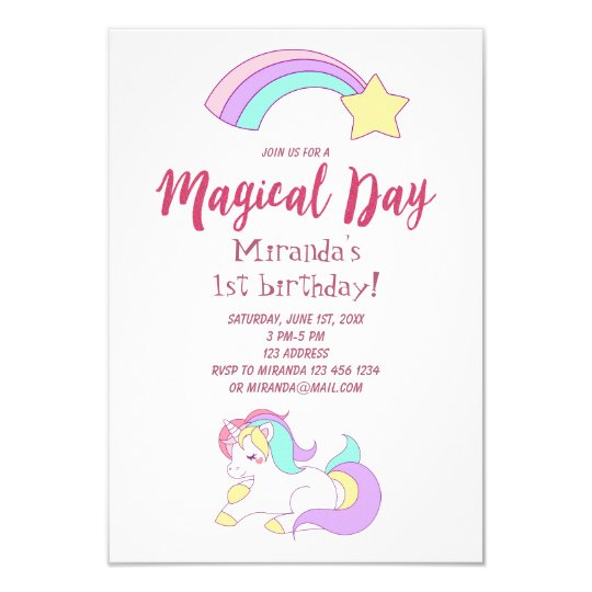 Unicorn Magic Girly Birthday Party Invitation Card