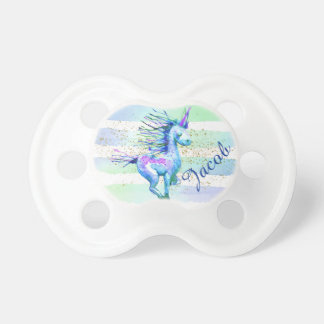Unicorn Magic Watercolor Stripes Blue Baby Pacifiers