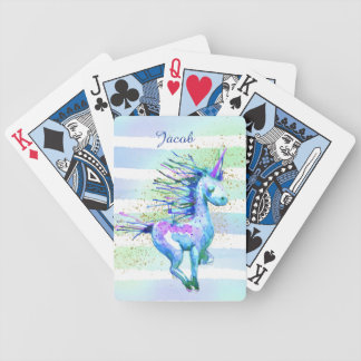 Unicorn Magic Watercolor Stripes Blue Bicycle Playing Cards