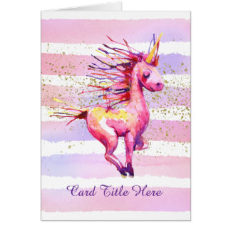 Unicorn Magic Watercolor Stripes Pink Card