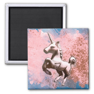Unicorn Magnet - Round or Square (Faded Sherbet)