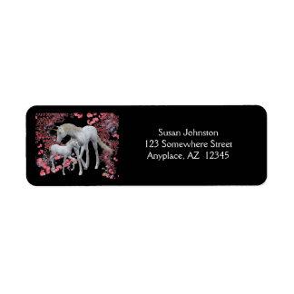 Unicorn Mare And Foal Fantasy Address Label
