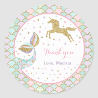 Unicorn & Mermaid Party Favor Tag Magical Favor Stickers