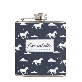Unicorn Midnight Sky Pattern Hip Flask