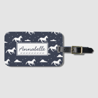Unicorn Midnight Sky Pattern Luggage Tag