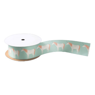 Unicorn mint and peach satin ribbon