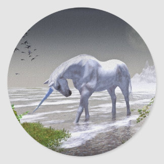Unicorn Moon Classic Round Sticker