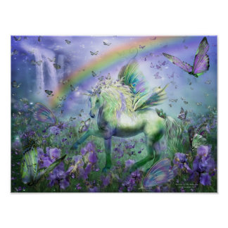 Unicorn Of The Butterflies Art Mural Print
