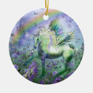 Unicorn Of The Butterflies Holiday Ornament