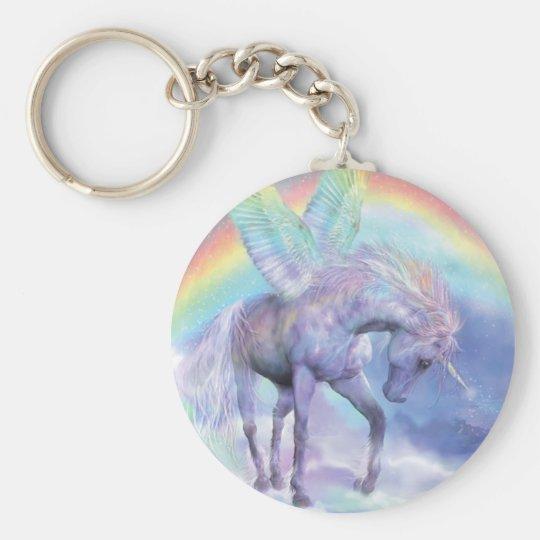 Unicorn Of The Rainbow Art Keychain