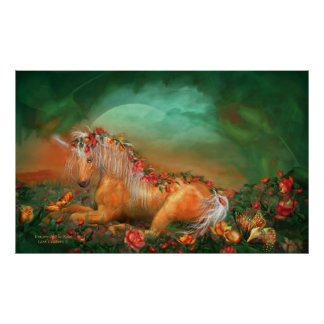 Unicorn Of The Roses Art Poster/Print Poster