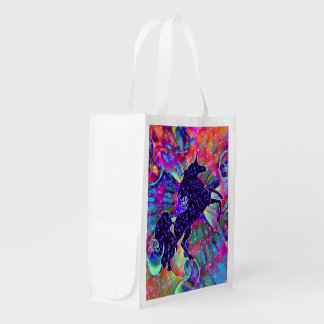 UNICORN OF THE UNIVERSE multicolored Reusable Grocery Bag