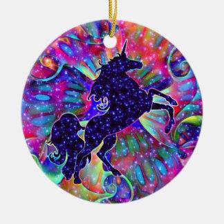 UNICORN OF THE UNIVERSE multicolored Round Ceramic Decoration